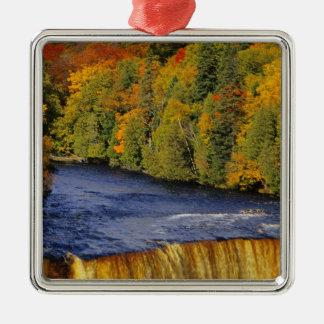 Upper Tahquamenon Falls in UP Michigan in Silver-Colored Square Decoration