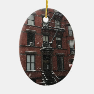 Upper West Side Brownstone Fire Escape NYC Snow Ceramic Ornament