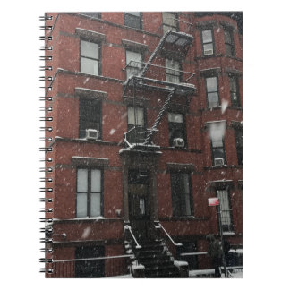Upper West Side Brownstone Fire Escape NYC Snow Spiral Notebook