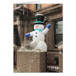 Upper West Side Snowman New York City NYC Snow Card