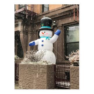 Upper West Side Snowman New York City NYC Snow Postcard
