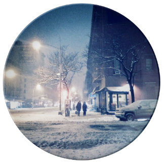 Upper West Side Winter Night Porcelain Plate