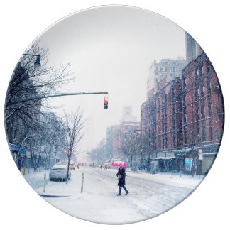 Upper West Side Winter Snowstorm Porcelain Plates