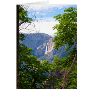 Upper Yosemite Falls with Leaves (Blank Inside) Card