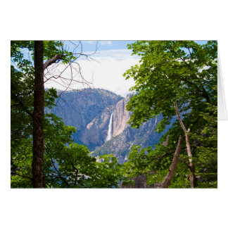 Upper Yosemite Falls with Leaves (Custom Message) Card