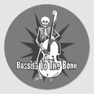 Upright Bass Playing Skeleton Round Sticker