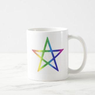 Upright rainbow pentagram mug
