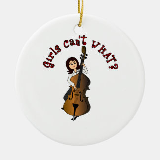 Upright String Double Bass Girl Ceramic Ornament