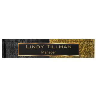 Upscale Dark Gold Glitter and Black Damask Nameplate