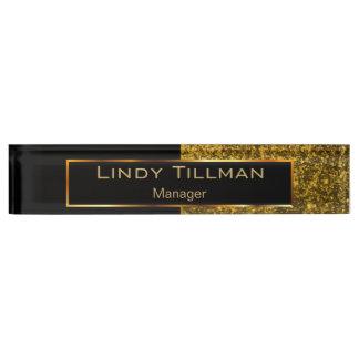 Upscale Dark Gold Glitter and Black Nameplate