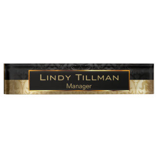 Upscale Gold and Black Damask Nameplate