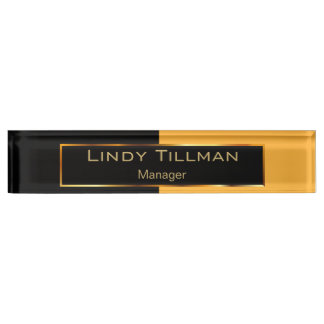 Upscale Golden Yellow and Black Nameplate