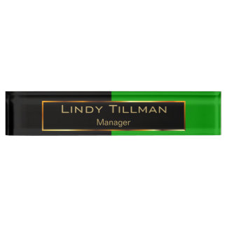 Upscale Lime Green and Black Name Plate