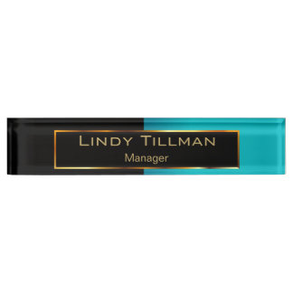 Upscale Teal and Black Name Plate