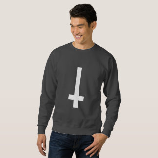 upside down cross mens sweatshirt