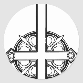 Upside Down Cross Pattern Classic Round Sticker