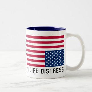 Upside Down Flag  In Distress Two-Tone Coffee Mug