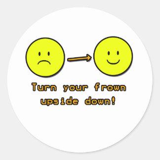 Upside Down Frown Round Sticker