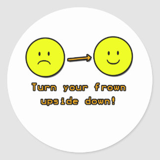 Upside Down Frown Round Stickers