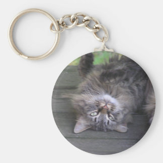 Upside Down Pussy Cat Basic Round Button Key Ring