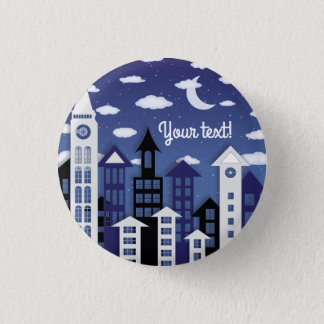 Uptown at Nght Illustrated Panel 3 Cm Round Badge