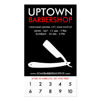 uptown barbershop loyalty business cards