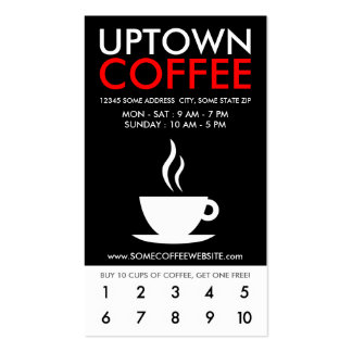 uptown coffee loyalty pack of standard business cards