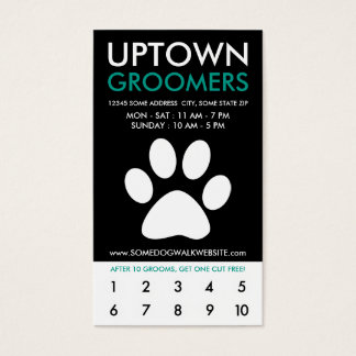 uptown pet grooming loyalty business card