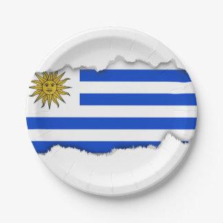 Uraguay flag 7 inch paper plate