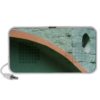 Urban architecture in green color travelling speakers