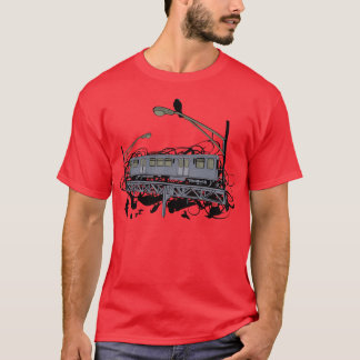 Urban artistic El Train and Crows Illustration T-Shirt