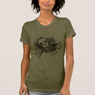 Urban Artistic Tattoo Skull and Flourishes Art T Shirts