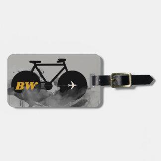 urban bicycle monogram graphic black luggage tag