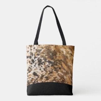 Urban Black Brown Faux Fur Rodeo Print Pattern Tote Bag