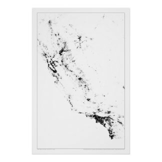 Urban California Census Dotmap Poster