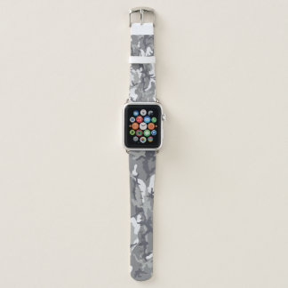 Urban Camouflage Grey and White Pattern Military Apple Watch Band