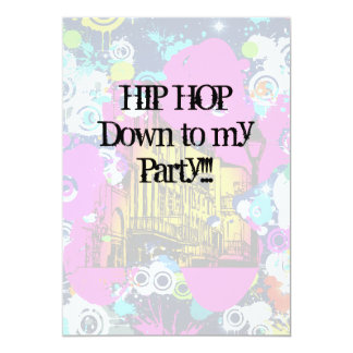 urban city graffiti paint splatter hip hop party 13 cm x 18 cm invitation card