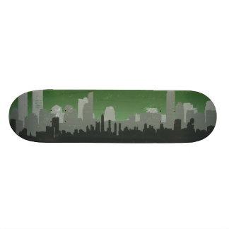 Urban City Sprawl Sky Line skateboard green