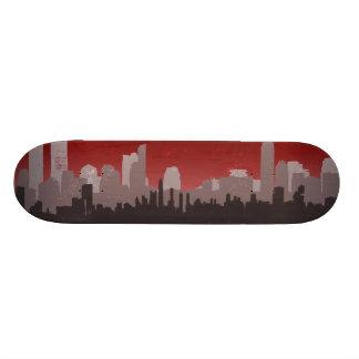 Urban City Sprawl Sky Line skateboard red