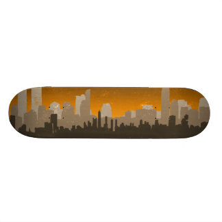 Urban City Sprawl Sky Line skateboard (yellow)