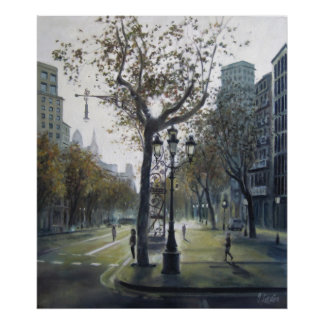 Urban cityscape Barcelona - Stroll of Grace Poster