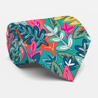 Urban colorful Jungle foliage Pattern Tie