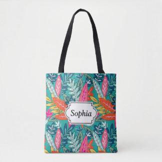Urban colorful Jungle foliage Pattern Tote Bag