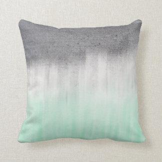 Urban concrete, green mint throw pillow