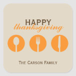 Urban dinner party orange utensil Thanksgiving tag