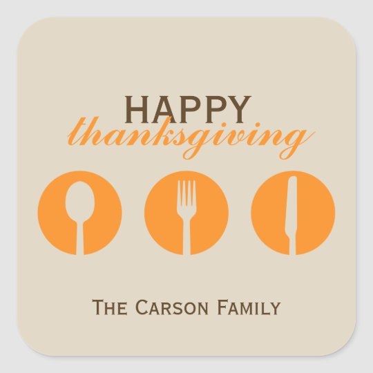 Urban dinner party orange utensil Thanksgiving tag