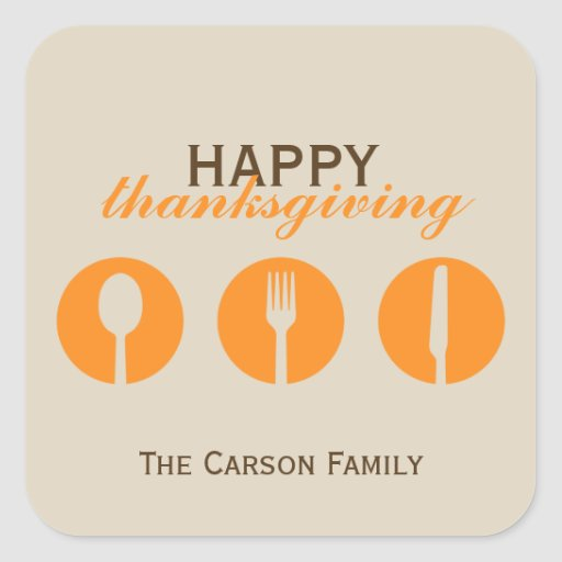 Urban dinner party orange utensil Thanksgiving tag Square Sticker