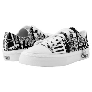 Urban, Famous Cities, Black and White Printed Shoes