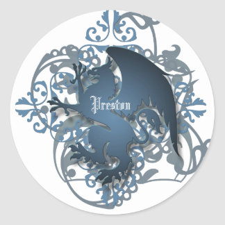 Urban Fantasy Blue Griffin Add Name Stickers