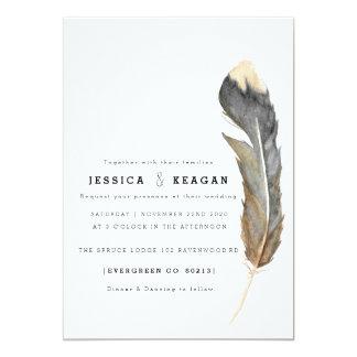 Urban Feather Wedding Invite